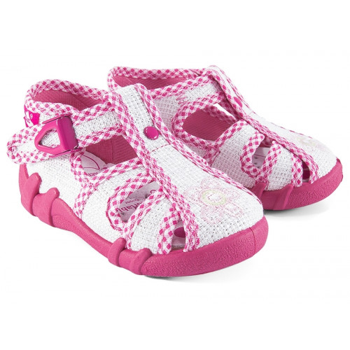 Sandale fetite, din material textil, alb cu fir argintiu, cu motiv brodat REB5106