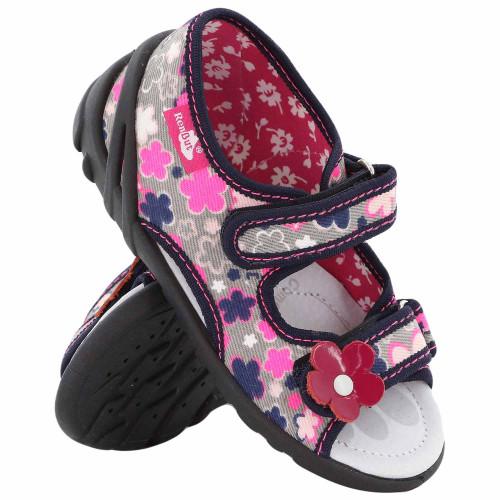Sandale fetite, din material textil, cu motiv floricel