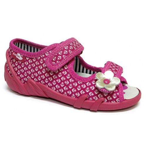 Sandale fetite, din material textil, cu scai, fuchsia cu motive