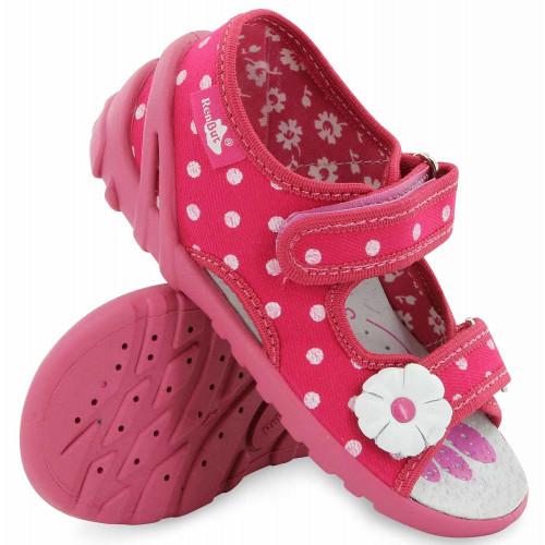 Sandale fetite din material textil cu scai roz cu bulinute