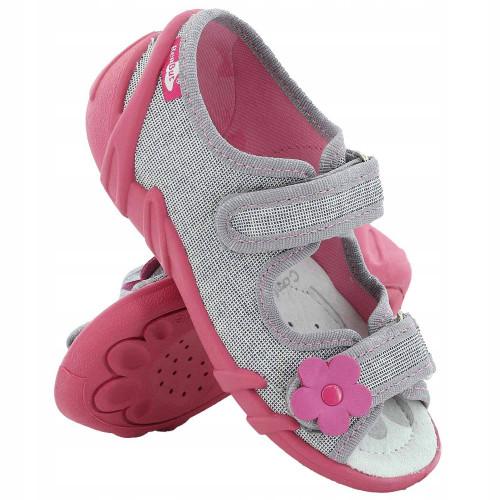 Sandale fetite, din material textil, gri cu scai