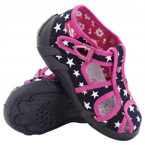 Sandale fetite, din material textil, negru cu roz, cu stelute albe