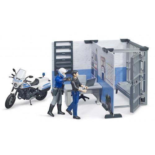 Sectie de politie cu politist, infractor si motocicleta, set Bruder 62732