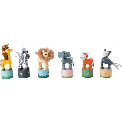 Set 6 animale dansatoare din lemn, Africa