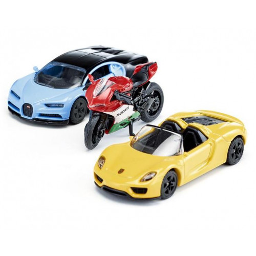 Set de masini sportive si motocicleta, Siku 6313