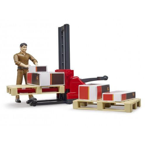 Set figurina cu accesorii logistica UPS, Bruder 62210