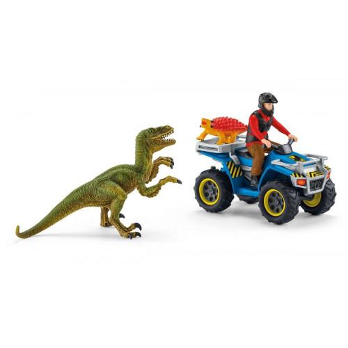 Set Schleich 41466, Fuga pe ATV pentru a scapa de velociraptor