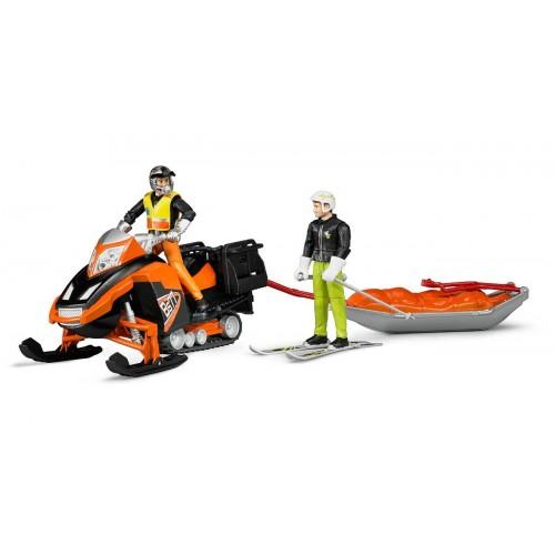 Snowmobil cu sofer si sanie de salvare su schior, Bruder 63100