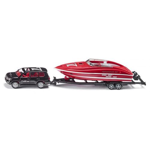 Toyota Land Cruiser cu remorca si barca, Siku 2543