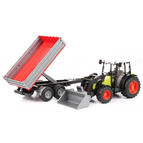 Tractor Claas Nectis 267F cu incarcator frontal si remorca, Bruder 02112