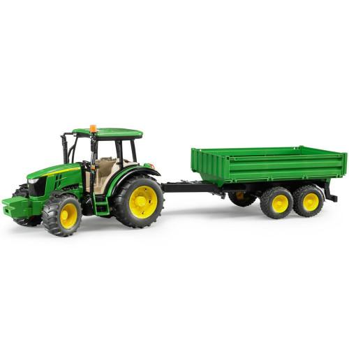Tractor Bruder 02108, John Deere 5115M cu remorca