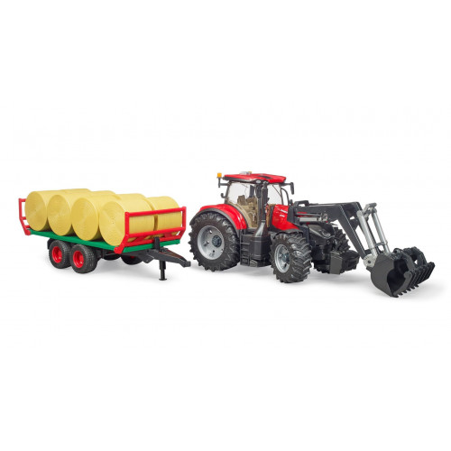 Tractor Case IH Optum 300 CVX cu remorca de transport baloti, Bruder 03198