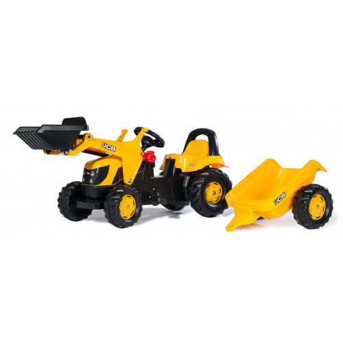 Tractor cu pedale Rolly Kid JCB cu incarcator frontal si remorca, Rolly Toys 023837
