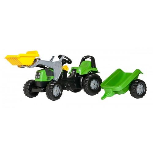 Tractor cu pedale Rolly Toys, RollyKid Deutz cu incarcator frontal si remorca