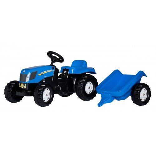 Tractor cu pedale si remorca Rolly Toys 013074, RollyKid New Holland