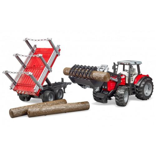 Tractor Massey Ferguson cu incarcator frontal si remorca forestiera, Bruder 02046