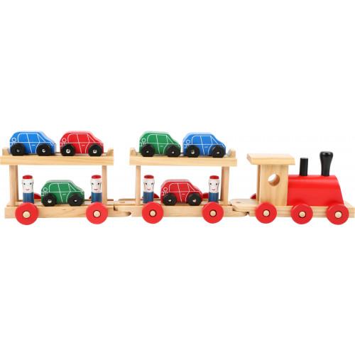 Trenul cu 6 masinute din lemn