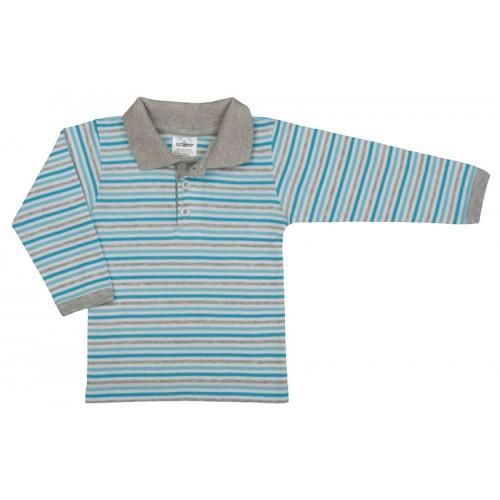 Tricou maneca lunga cu guler, albastru deschis