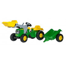 023110 - Tractor cu pedale Rolly Toys, John Deere cu incarcator frontal si remorca
