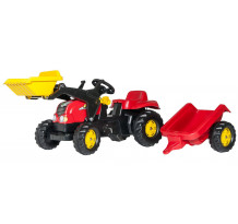 Tractor cu pedale Rolly Toys, cu incarcator frontal si remorca rollyKid