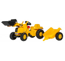 023288 - Tractor cu pedale Rolly Toys, CAT cu incarcator frontal si remorca