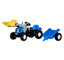 Tractor cu pedale Rolly Toys, New Holland T7040 cu incarcator frontal si remorca
