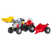 Tractor cu pedale Rolly Toys, Steyr 6165 CVT cu incarcator frontal si remorca