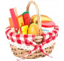 Cos picnic cu fructe, din lemn