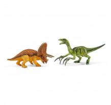 Figurina Schleich 42217, Set Triceraptor si Therizinozaur, mic