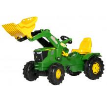 611096 - Tractor cu pedale Rolly Toys, John Deere 6210R cu incarcator frontal