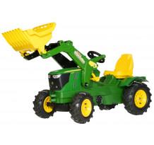 611102 - Tractor cu pedale Rolly Toys, John Deere 6210R cu anvelope pneumatice
