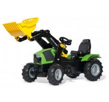 611218 - Tractor cu pedale Rolly Toys, Deutz-Fahr 5120 cu incarcator frontal + anvelope pneumatice