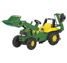 Tractor cu pedale Rolly Toys, John Deere Trac cu incarcator frontal si excavator in spate