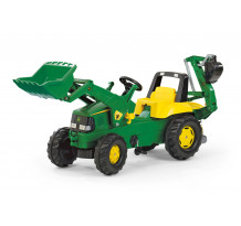 Tractor cu pedale Rolly Toys 811076, John Deere Trac cu incarcator frontal si excavator in spate