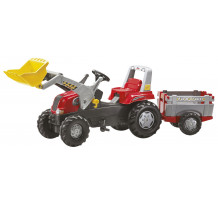 811397 - Tractor cu pedale Rolly Toys, Rolly Junior cu incarcator frontal, remorca