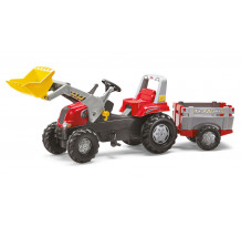 Tractor cu pedale Rolly Toys, Rolly Junior cu incarcator frontal, remorca