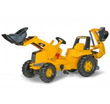 Tractor cu pedale Rolly Toys 813001, CAT Buldo cu excavator in spate
