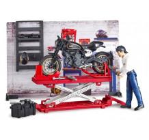 Atelier de motociclete, set Bruder