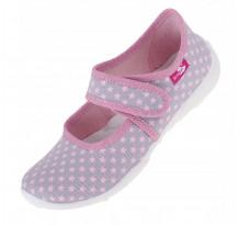 Balerini fetite, din material textil, bleumarin, gri, cu stelute roz