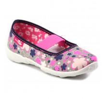 Balerini fetite, din material textil, gri cu floricele colorate