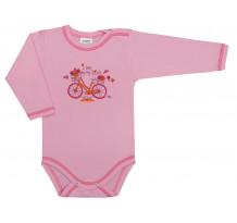 Body maneca lunga roz cu imprimeu de bicicleta /Basic