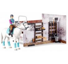 Boxa pentru cai cu accesorii, set Bruder