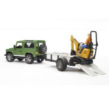 Masina Bruder 02593, Land Rover cu remorca, excavator JCB, + muncitor