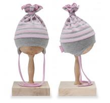 Caciula cu urechi copii, din bumbac, gri cu dungi roz