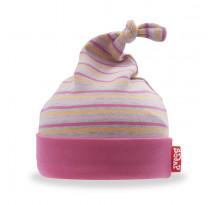 Caciulita bebelusi, din bumbac, roz cu dungi