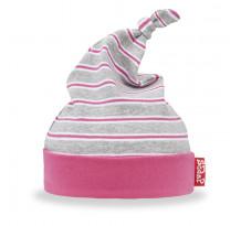 Caciulita bebelusi, din bumbac, gri cu dungi roz