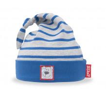 Caciulita bebelusi, din bumbac, albastru cu emblema