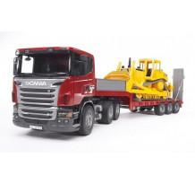 Camion Bruder 03555 Scania Seria-R cu platforma joasa si bulldozer Caterpillar