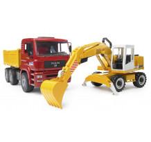 Camion MAN basculabil cu excavator Liebherr, Bruder