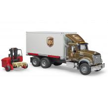 Camion MACK Granite UPS cu container si stivuitor portabil, Bruder